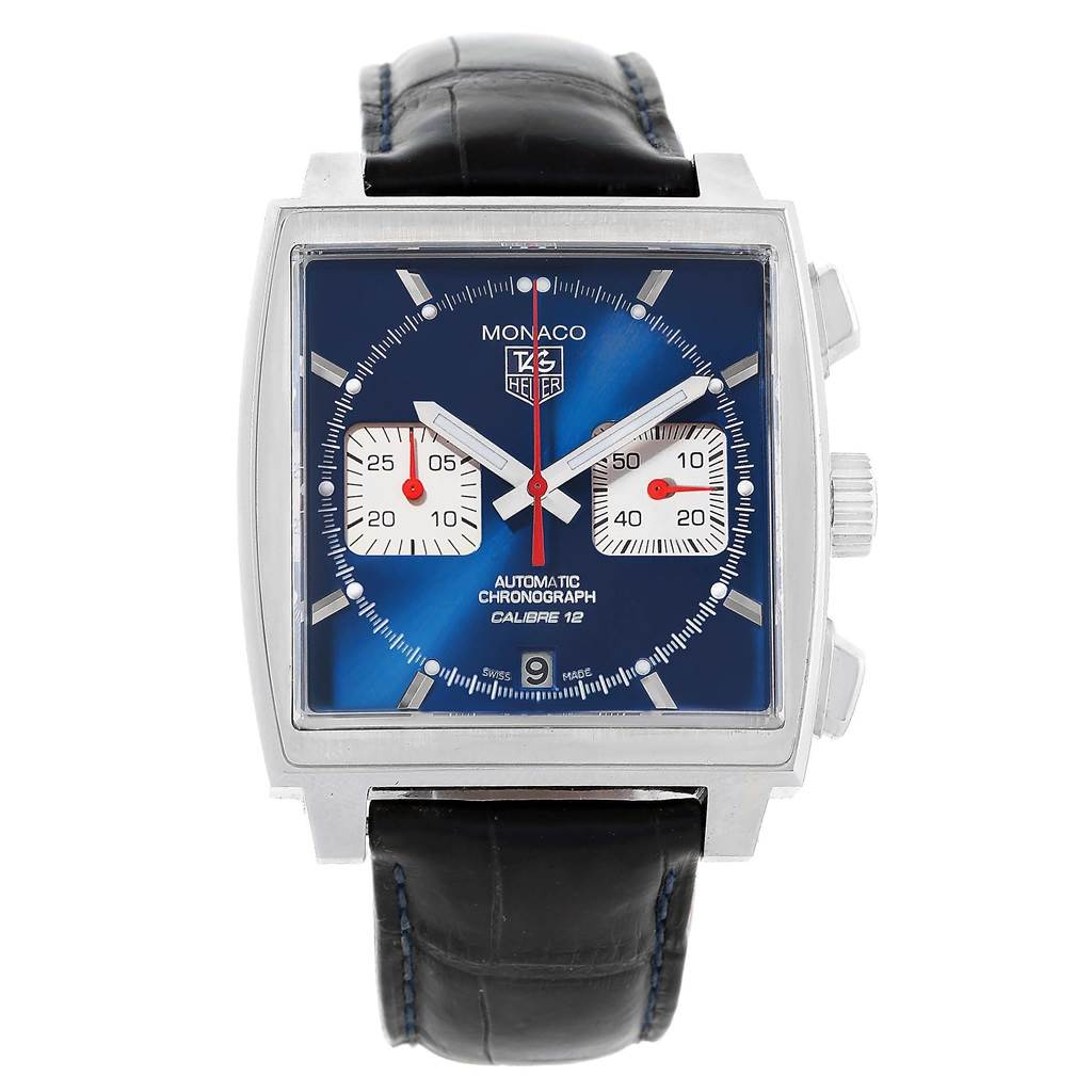 19392 Tag Heuer Monaco Calibre 12 Blue Dial Black Strap Mens Watch CAW2111 SwissWatchExpo