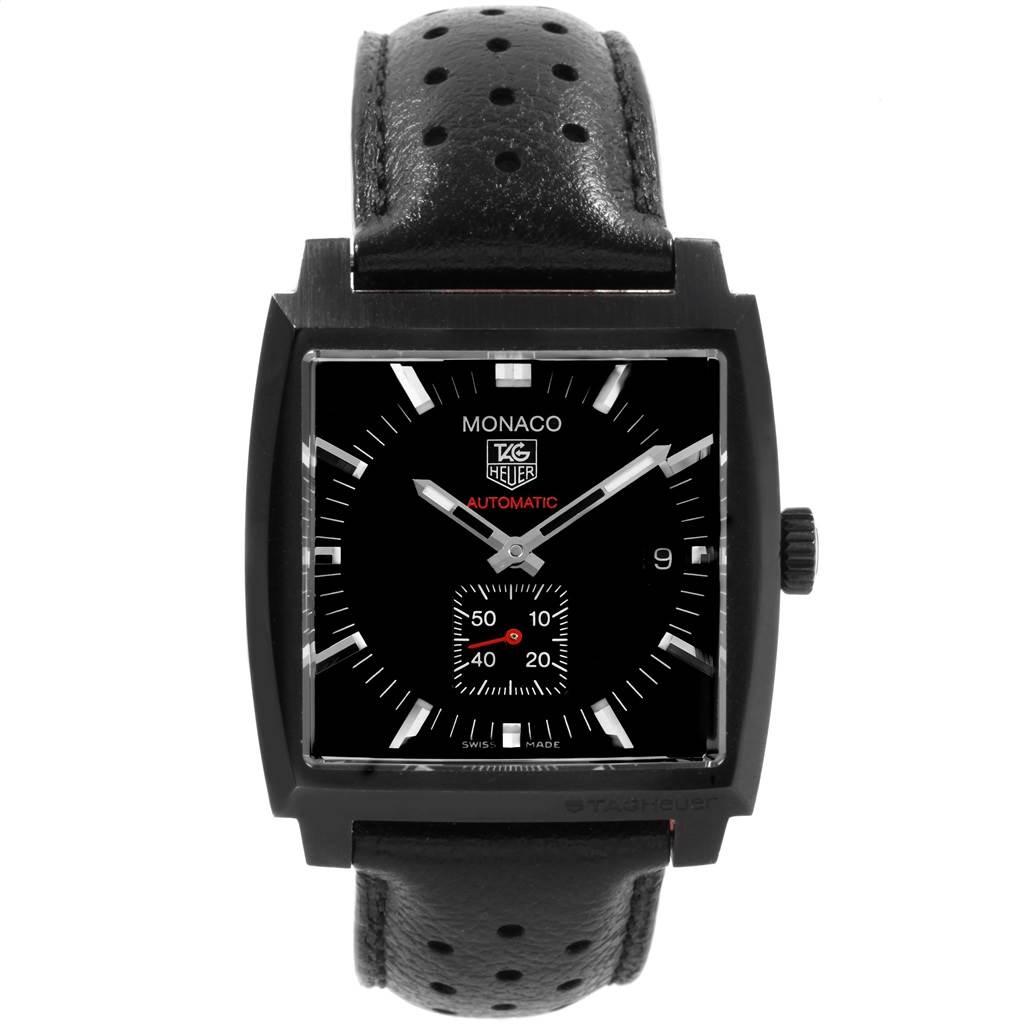 Tag Heuer Monaco Black Red Leather Strap Mens Watch WW2119 Box Card SwissWatchExpo