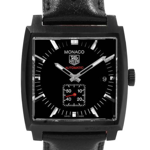 Photo of Tag Heuer Monaco Black Red Leather Strap Mens Watch WW2119 Box Card