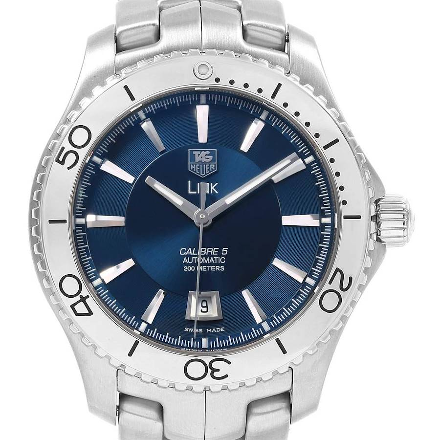 TAG Heuer Link Steel Blue Dial Automatic Mens Watch WJ201C Box Card SwissWatchExpo