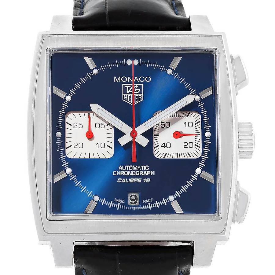 Tag Heuer Monaco Calibre 12 Blue Dial Mens Watch CAW2111 Box Card SwissWatchExpo