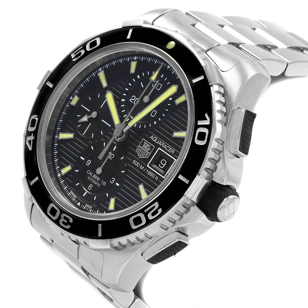 Tag Heuer Aquaracer Chronograph Steel Mens Watch CAK2111 Box Card SwissWatchExpo