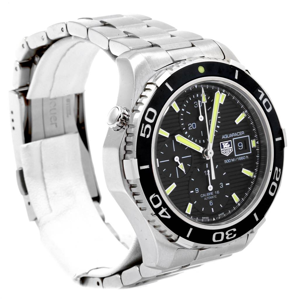 20299 Tag Heuer Aquaracer Chronograph Steel Mens Watch CAK2111 Box Card SwissWatchExpo