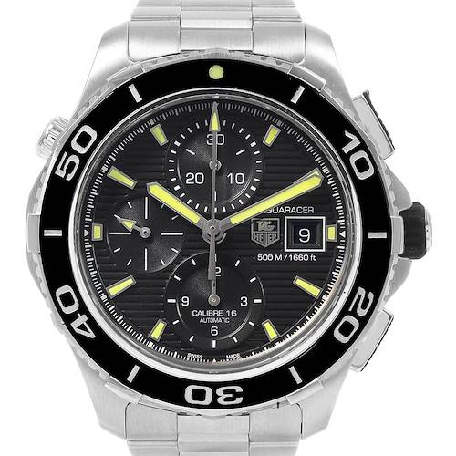 Photo of Tag Heuer Aquaracer Chronograph Steel Mens Watch CAK2111 Box Card