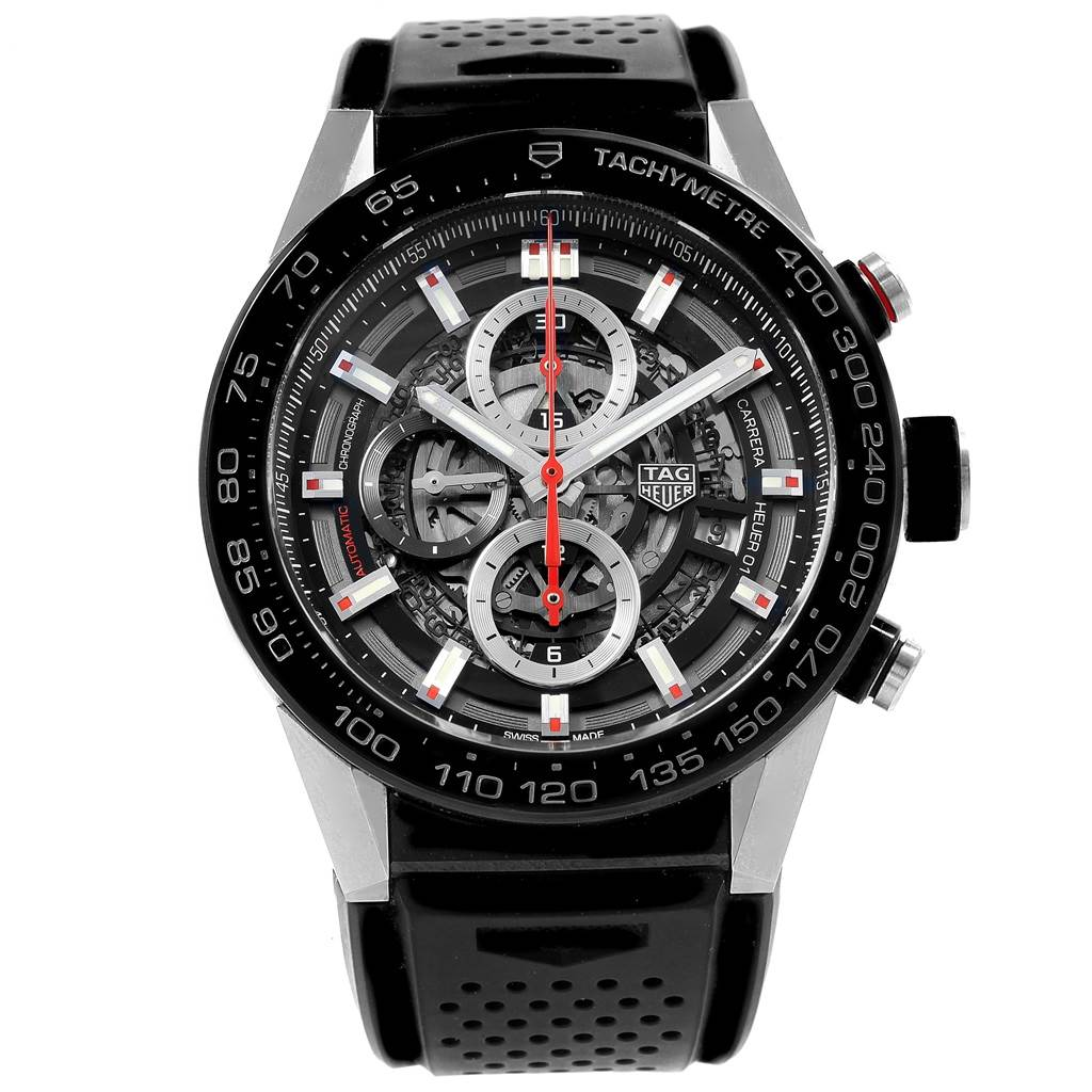 20406 TAG Heuer Carrera Calibre Heuer 01 Skeleton Dial Watch CAR2A1Z Box SwissWatchExpo