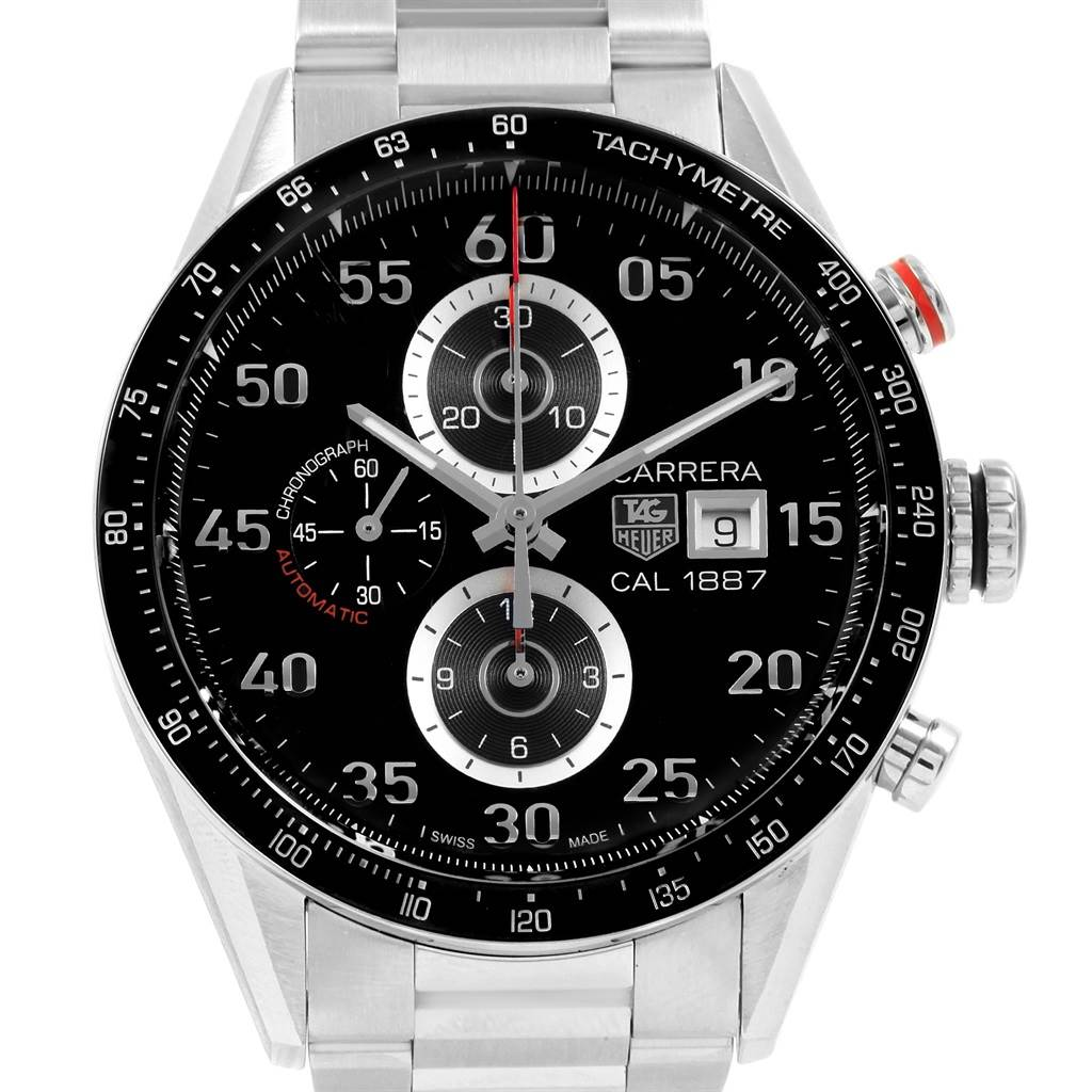 20491 Tag Heuer Carrera Black Dial Chronograph Mens Watch CAR2A10 SwissWatchExpo