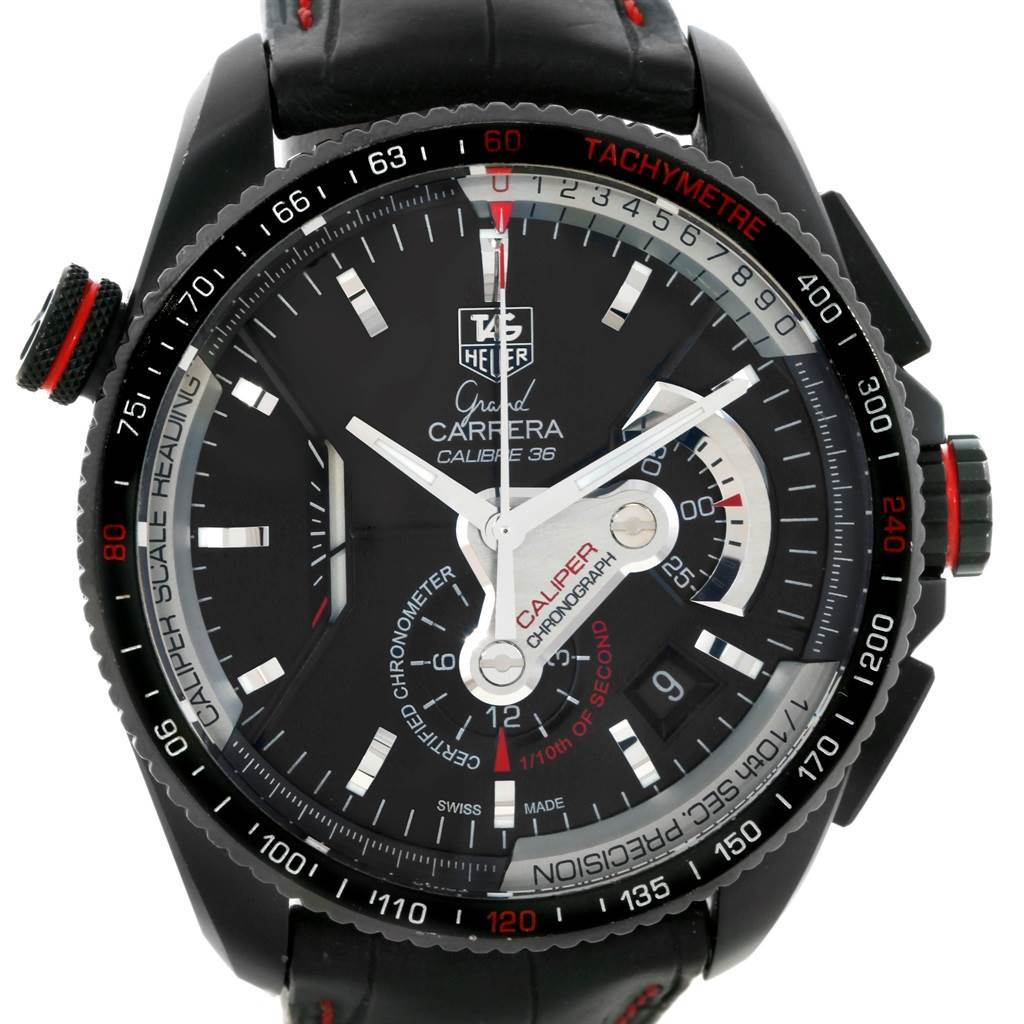 20824 Tag Heuer Grand Carrera 36 RS Caliper PVD Titanium Watch CAV5185.FC6237 SwissWatchExpo