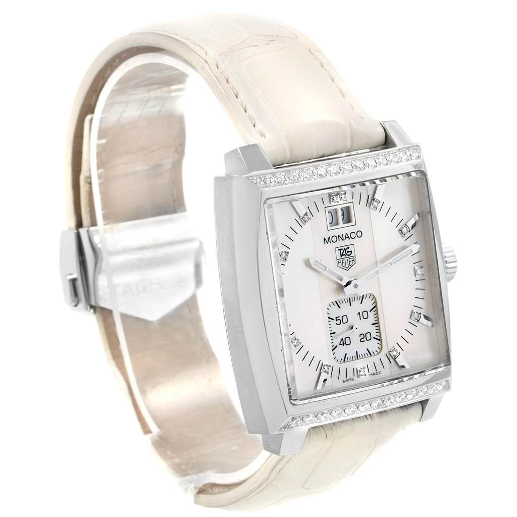 20705 Tag Heuer Monaco MOP Diamond Dial White Strap Ladies Watch WAW1313 SwissWatchExpo