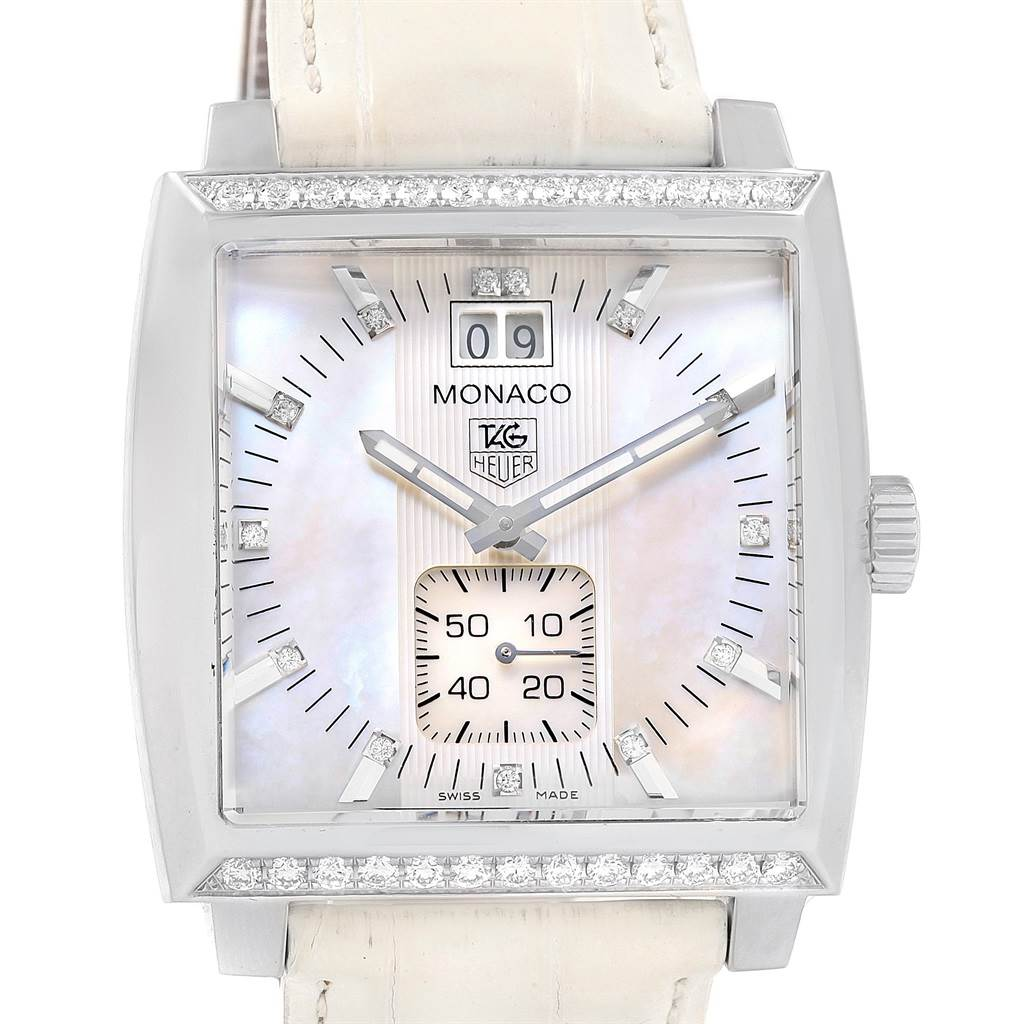 Tag Heuer Monaco MOP Diamond Dial White Strap Ladies Watch WAW1313 SwissWatchExpo