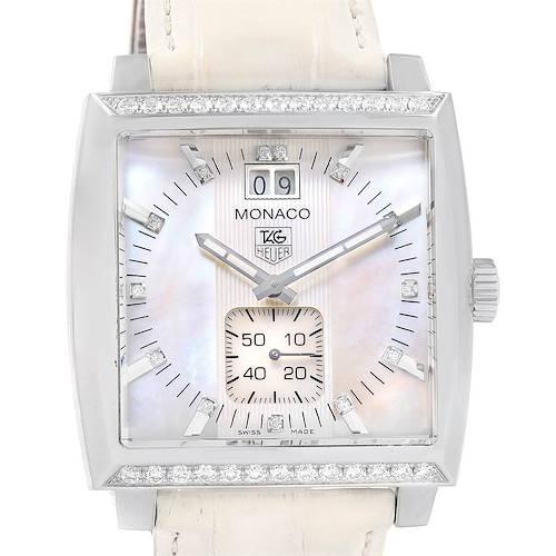 Photo of Tag Heuer Monaco MOP Diamond Dial White Strap Ladies Watch WAW1313