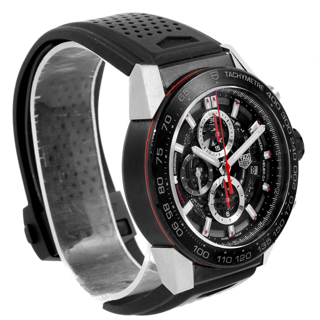 20715X TAG Heuer Carrera Calibre Heuer 01 Skeleton Mens Watch CAR2A1Z Box Card SwissWatchExpo