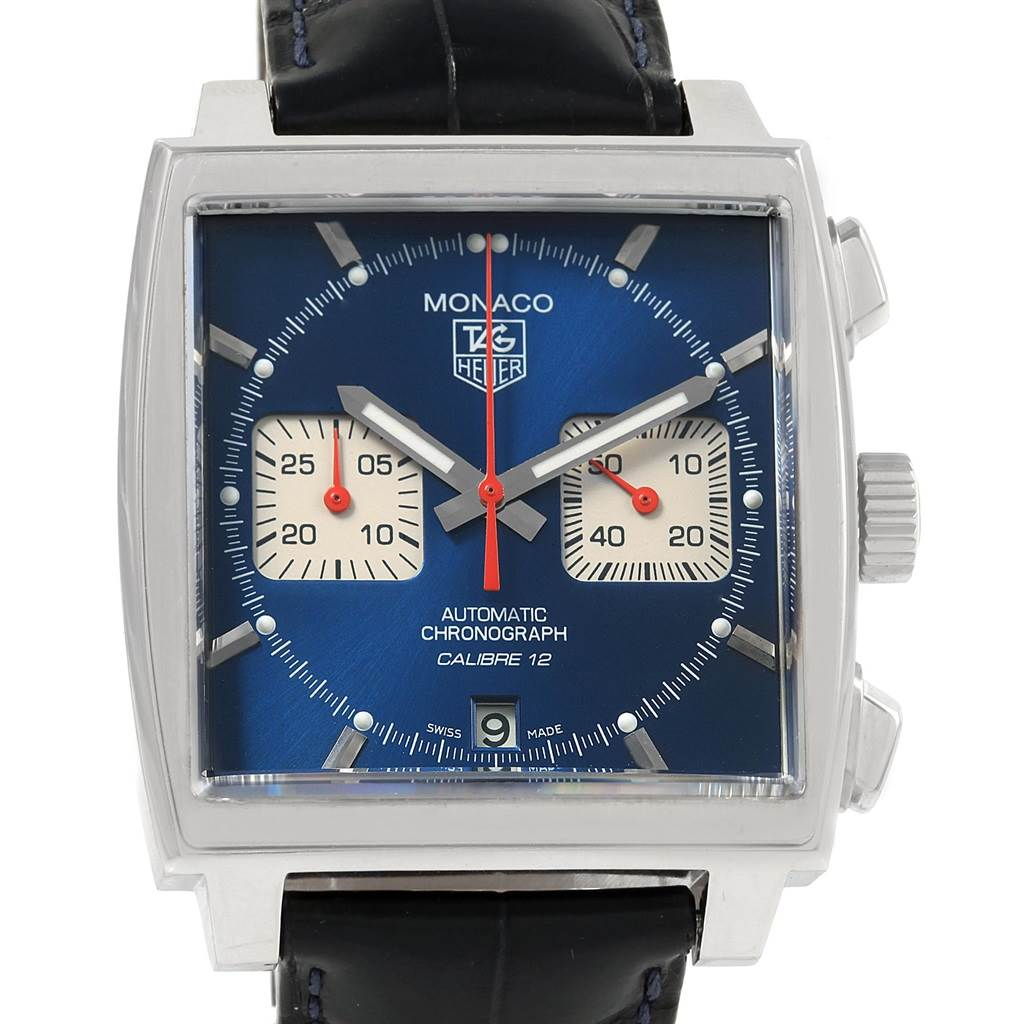 20704X Tag Heuer Monaco Calibre 12 Blue Dial Black Strap Mens Watch CAW2111 SwissWatchExpo