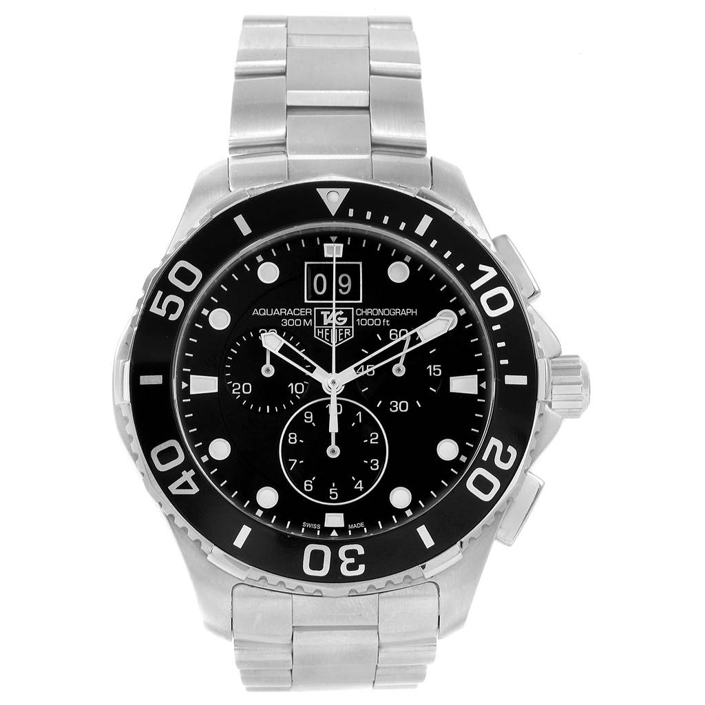 Tag Heuer Aquaracer Chronograph Steel Mens Watch CAN1010 SwissWatchExpo