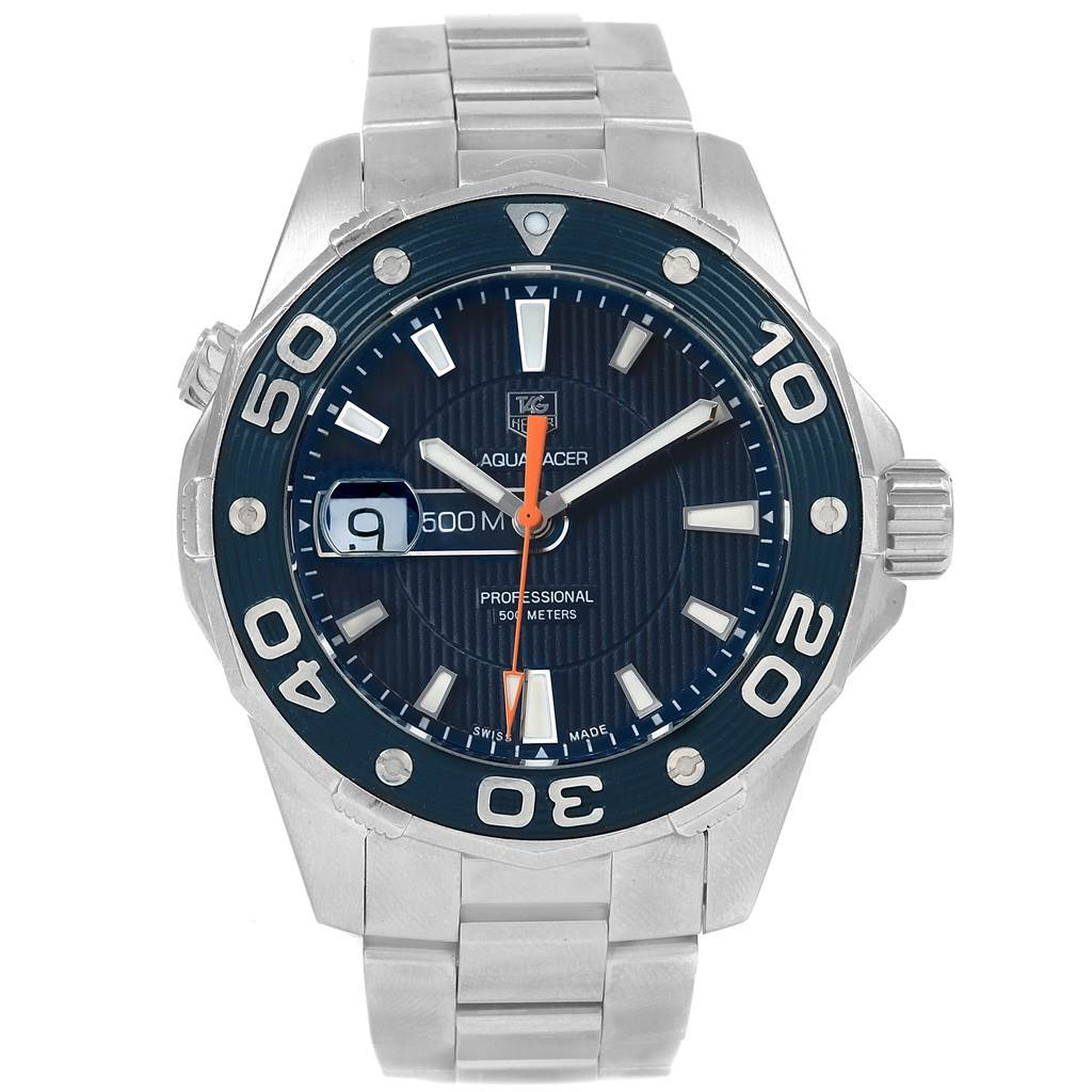 3d6901c9a732 ... 21317 Tag Heuer Aquaracer 500M Blue Dial Steel Mens Watch WAJ1112  SwissWatchExpo ...