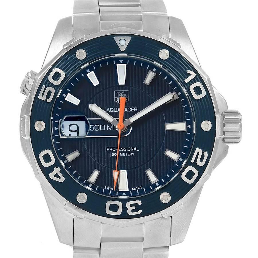 Tag Heuer Aquaracer 500M Blue Dial Steel Mens Watch WAJ1112 SwissWatchExpo