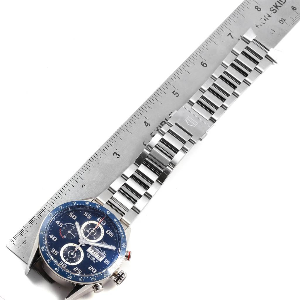 21368 Tag Heuer Carrera Blue Dial Chronograph Steel Mens Watch CV2A1V SwissWatchExpo