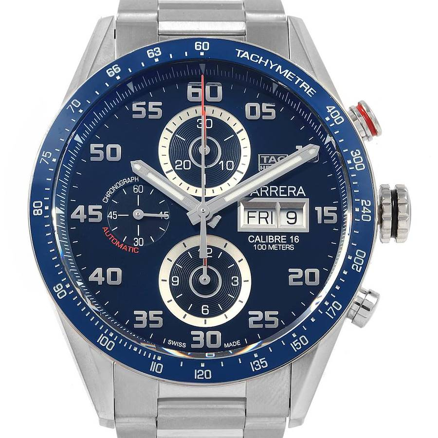 Tag Heuer Carrera Blue Dial Chronograph Steel Mens Watch CV2A1V SwissWatchExpo