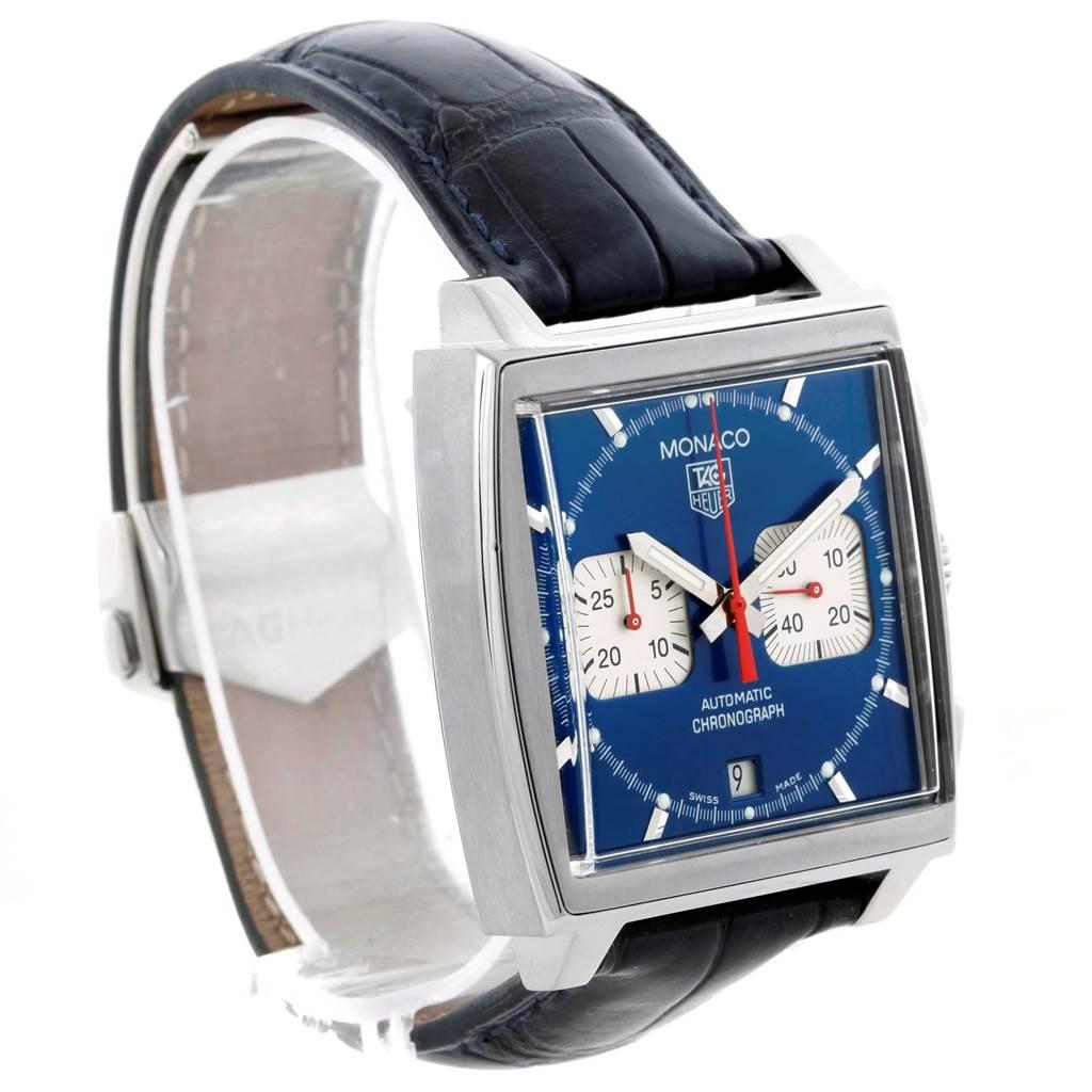21420 Tag Heuer Monaco Blue Dial Automatic Chronograph Mens Watch CW2113 SwissWatchExpo