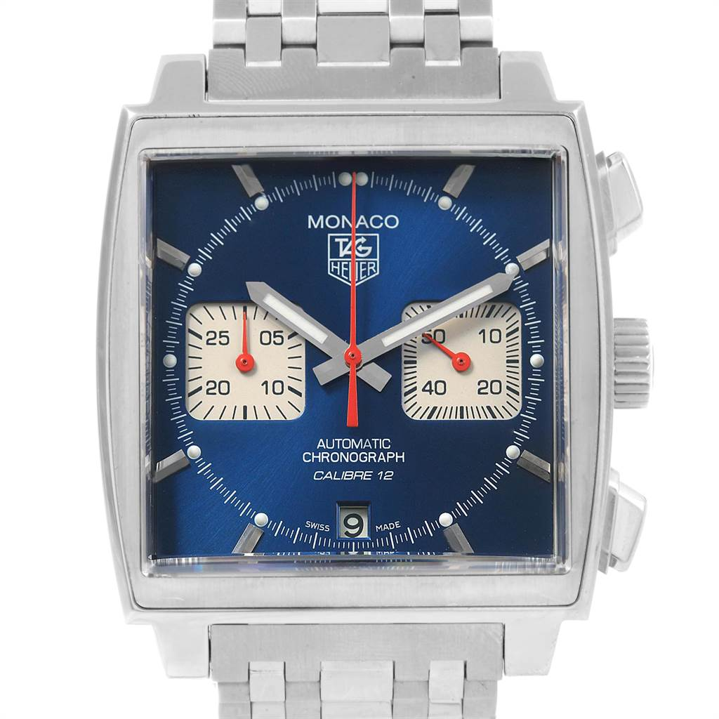 19701 Tag Heuer Monaco Calibre 12 Blue Dial Steel Mens Watch CAW2111 SwissWatchExpo