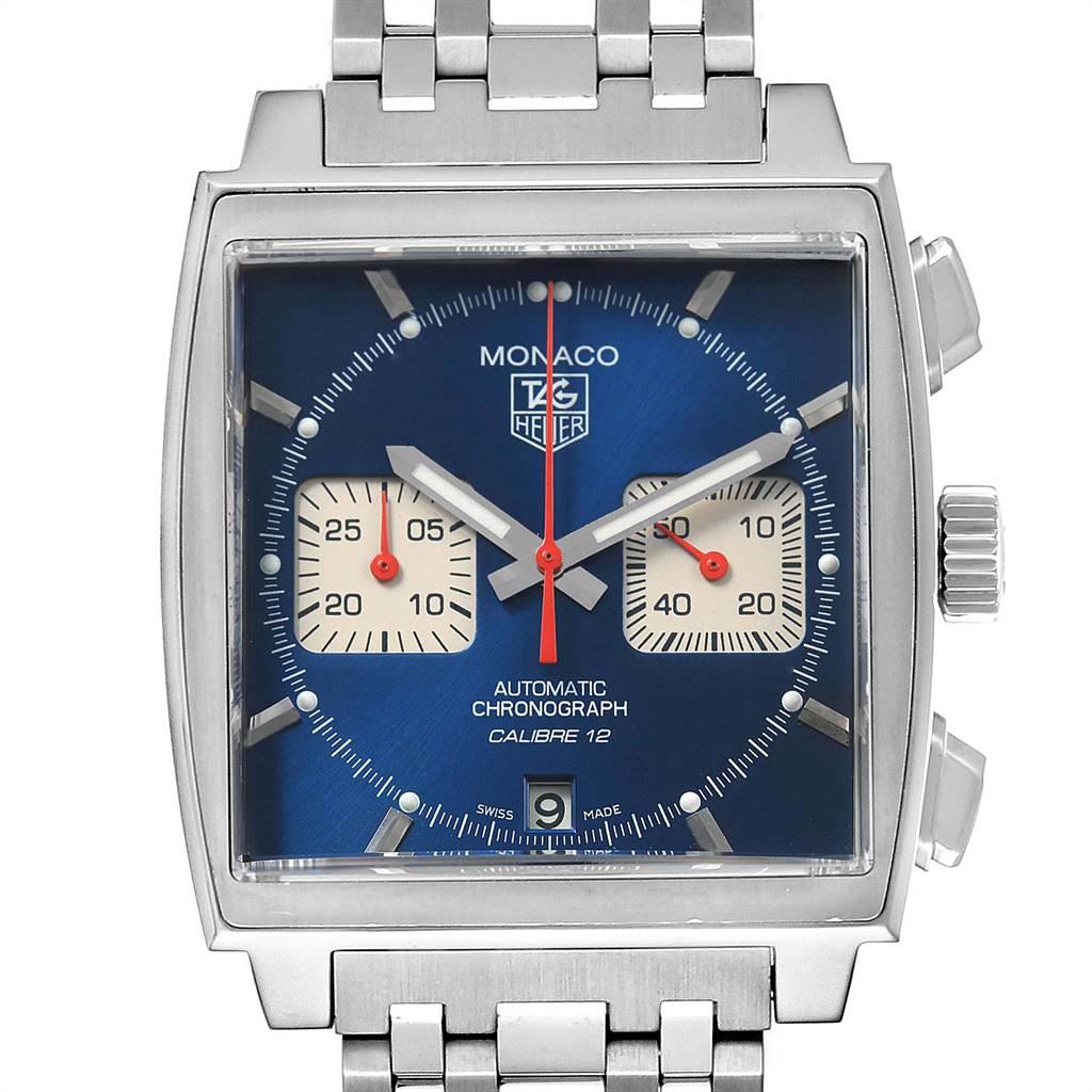 Tag Heuer Monaco Calibre 12 Blue Dial Steel Mens Watch CAW2111 SwissWatchExpo