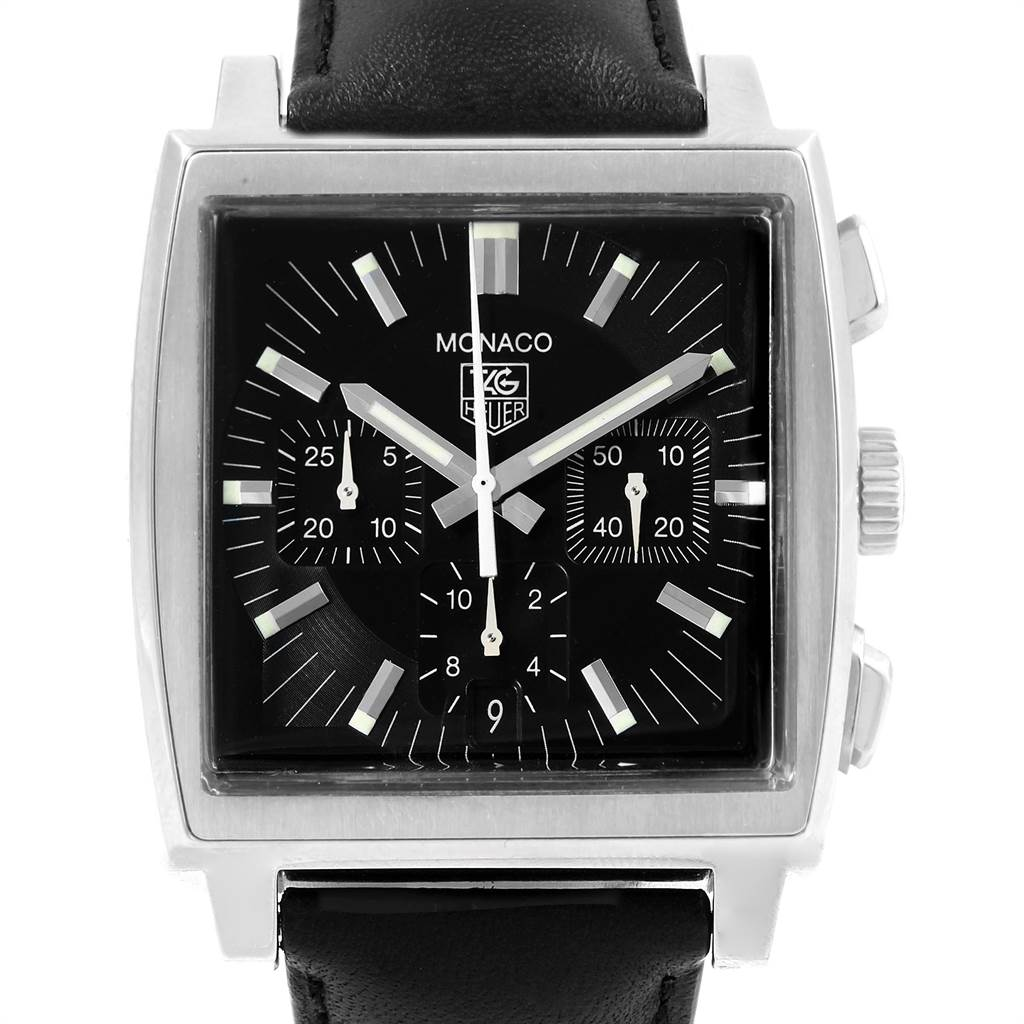 19764 Tag Heuer Monaco Automatic Black Strap Mens Watch CW2111 SwissWatchExpo