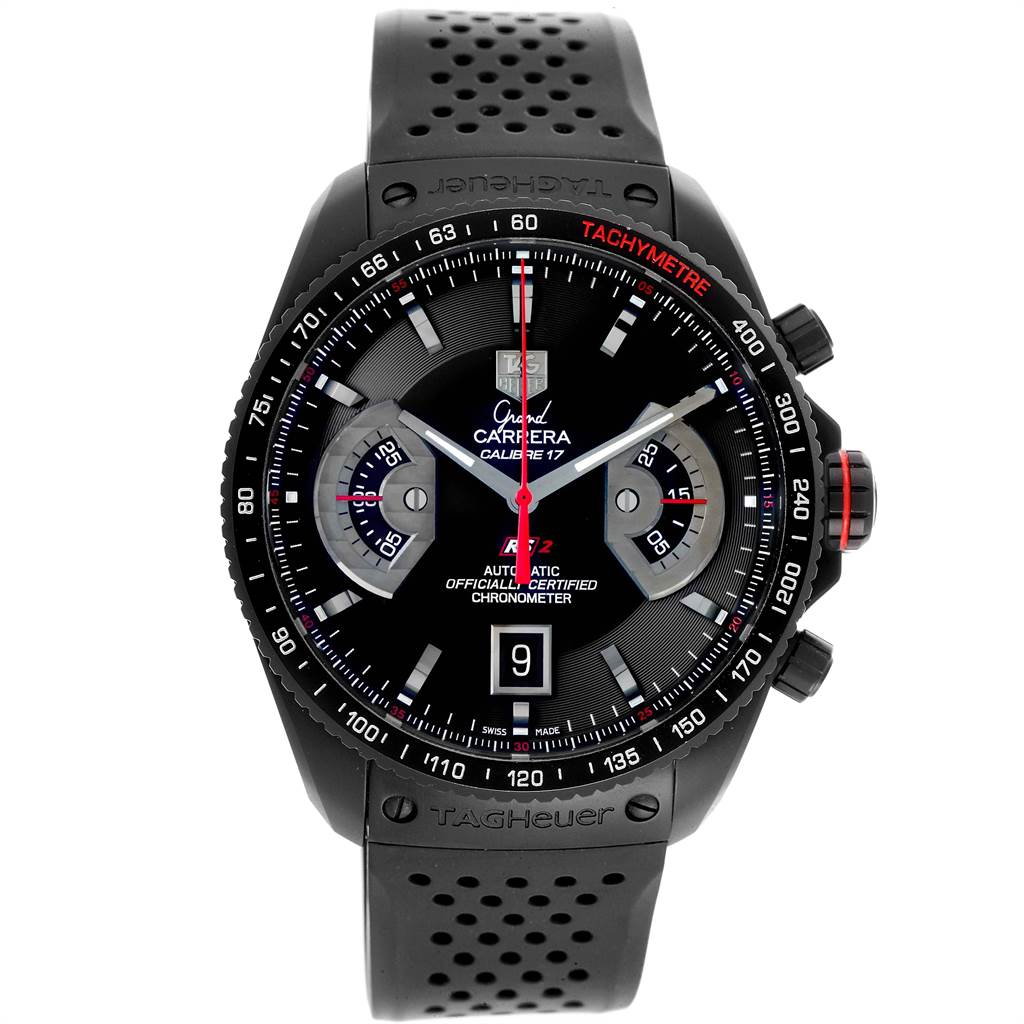 22015 Tag Heuer Grand Carrera Black PVD Mens Watch CAV518B Box Card SwissWatchExpo