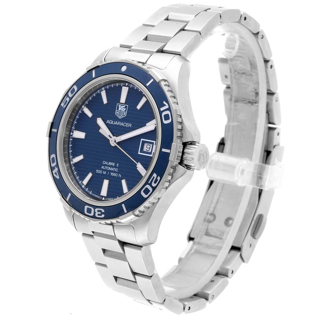 22007 Tag Heuer Aquaracer Calibre 5 500M Steel Mens Watch WAK2111 Box Card SwissWatchExpo