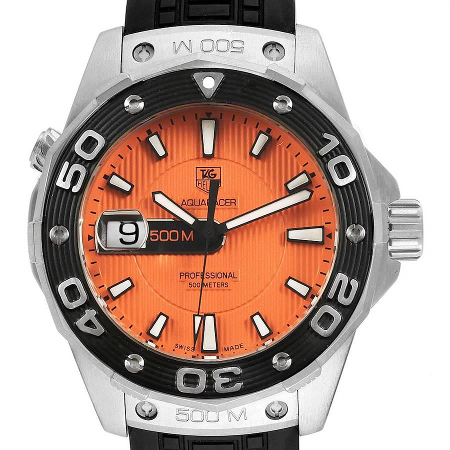 Tag Heuer Aquaracer 500M Orange Dial Rubber Strap Mens Watch WAJ1113 SwissWatchExpo