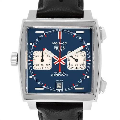Photo of Tag Heuer Monaco Chronograph Blue Dial Mens Watch CAW211P Box Card