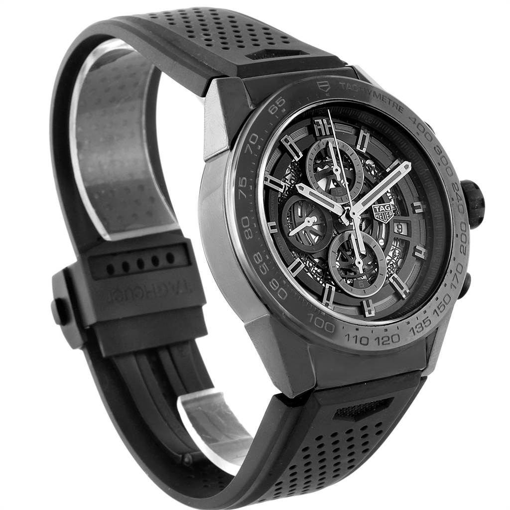 22401 Tag Heuer Carrera Black Ceramic Chronograph Watch CAR2A90 Box Papers SwissWatchExpo