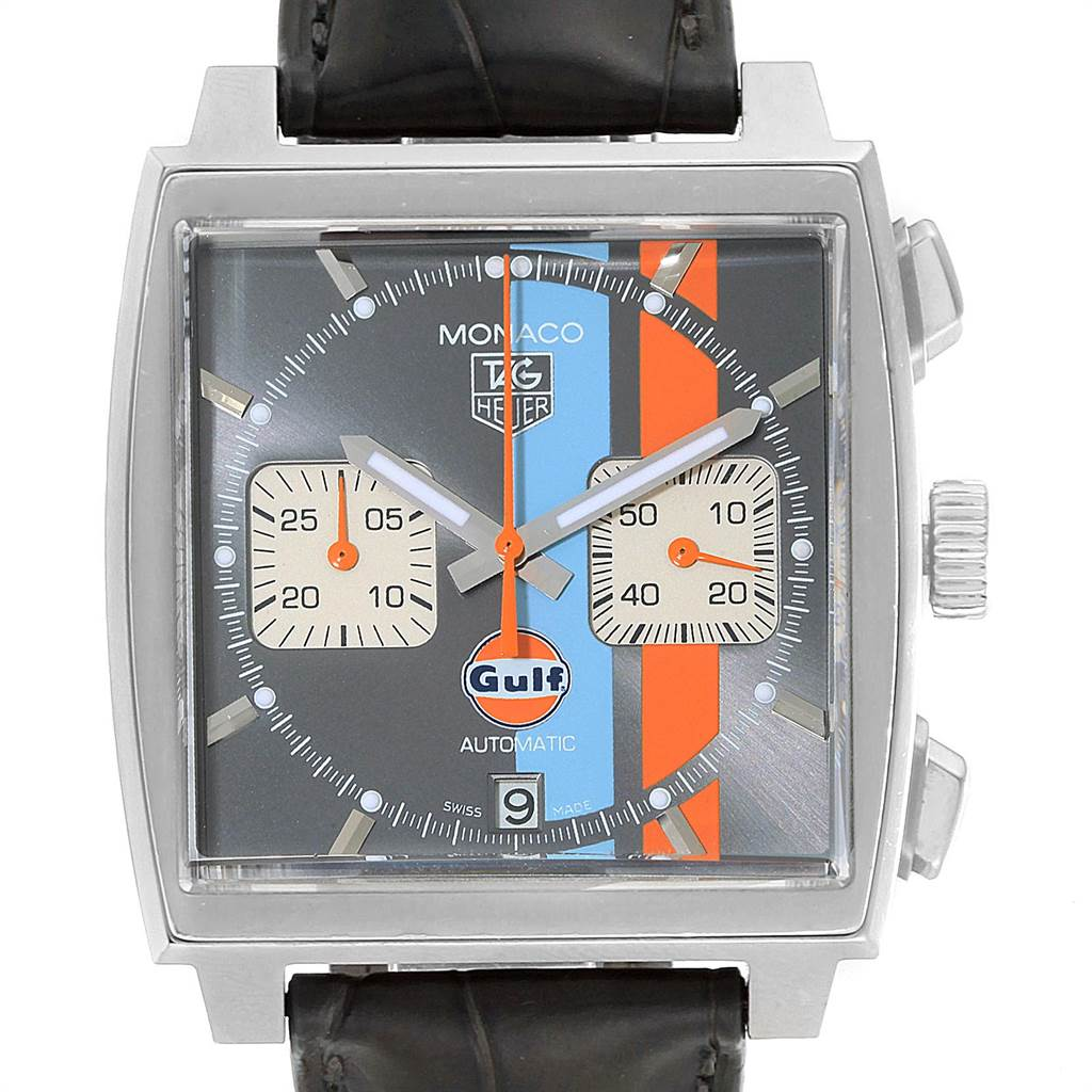 22654 Tag Heuer Monaco Gulf Calibre 12 Chronograph Mens Watch CAW2113 SwissWatchExpo