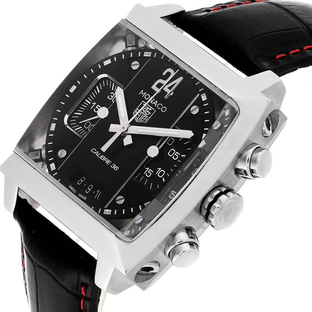 23371 Tag Heuer Monaco 24 Black Dial Chronograph Mens Watch CAL5113 SwissWatchExpo