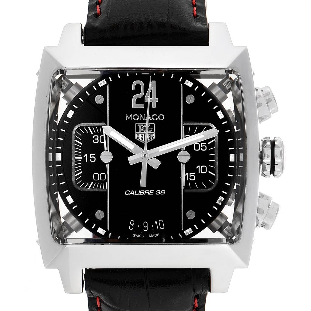 Tag Heuer Monaco 24 Black Dial Chronograph Mens Watch CAL5113 SwissWatchExpo