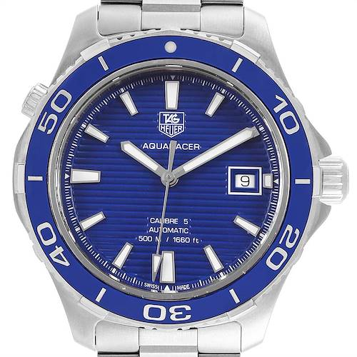 Photo of Tag Heuer Aquaracer Calibre 5 500M Blue Dial Steel Mens Watch WAK2111