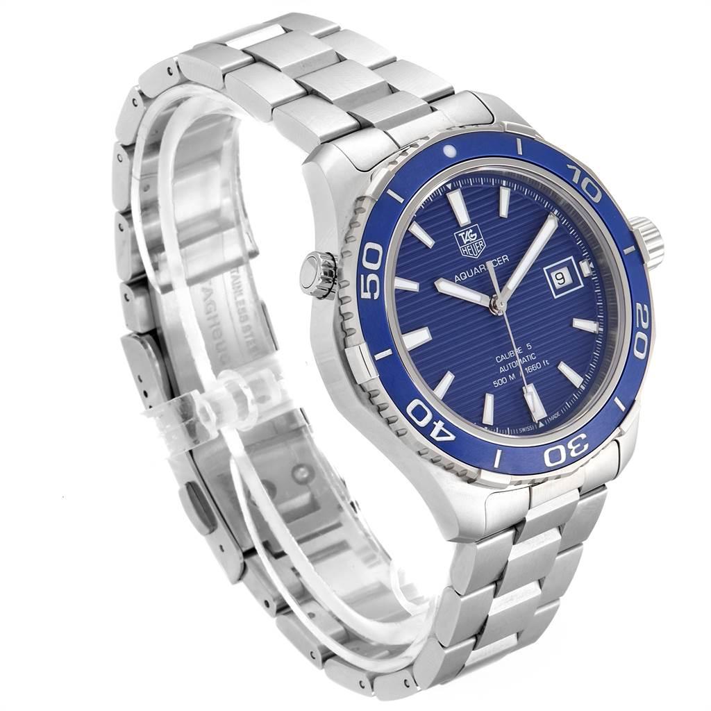 Tag Heuer Aquaracer Calibre 5 500M Blue Dial Mens Watch WAK2111 Box Card SwissWatchExpo