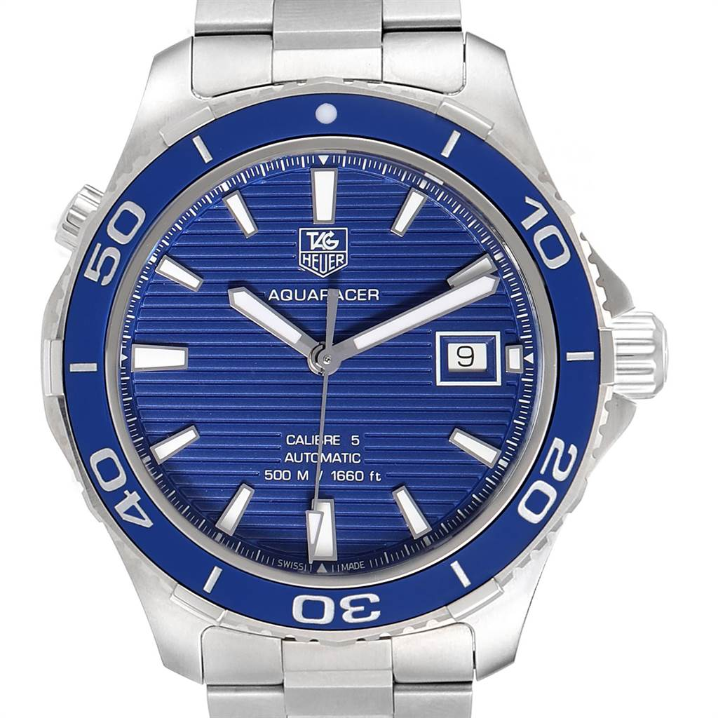 Photo of Tag Heuer Aquaracer Calibre 5 500M Blue Dial Mens Watch WAK2111 Box Card
