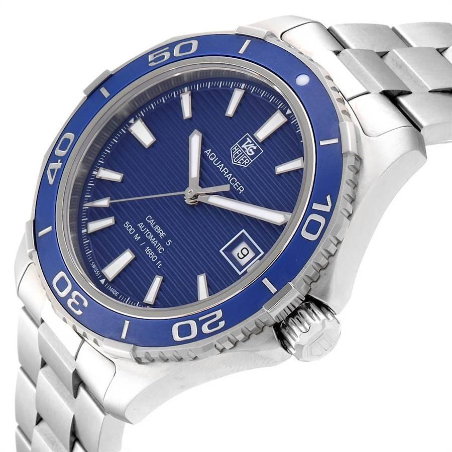 Tag Heuer Aquaracer Calibre 5 500M Blue Dial Steel Mens Watch WAK2111 Box Card SwissWatchExpo