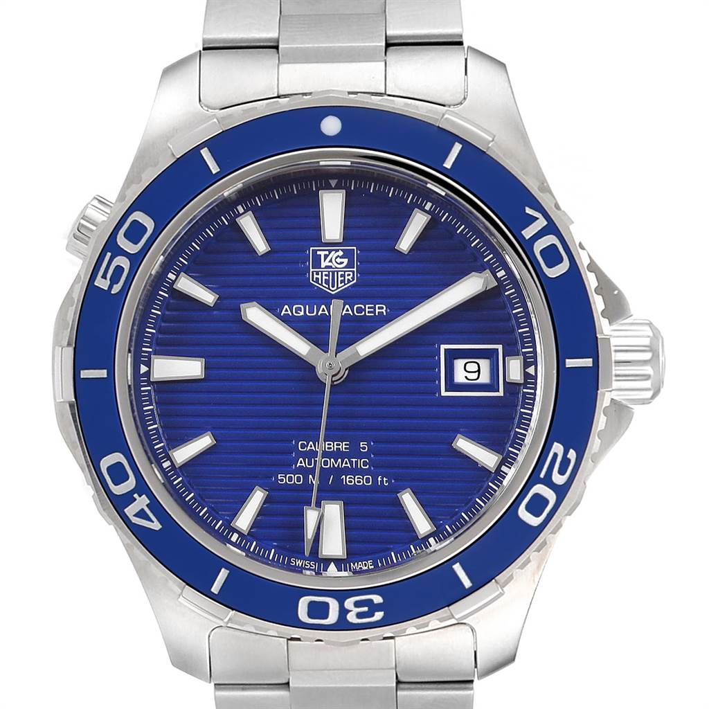 Tag Heuer Aquaracer Calibre 5 500M Blue Dial Steel Mens Watch WAK2111 Box Card SwissWatchExpo