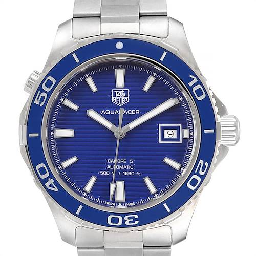 Photo of Tag Heuer Aquaracer Calibre 5 500M Blue Dial Steel Mens Watch WAK2111 Box Card