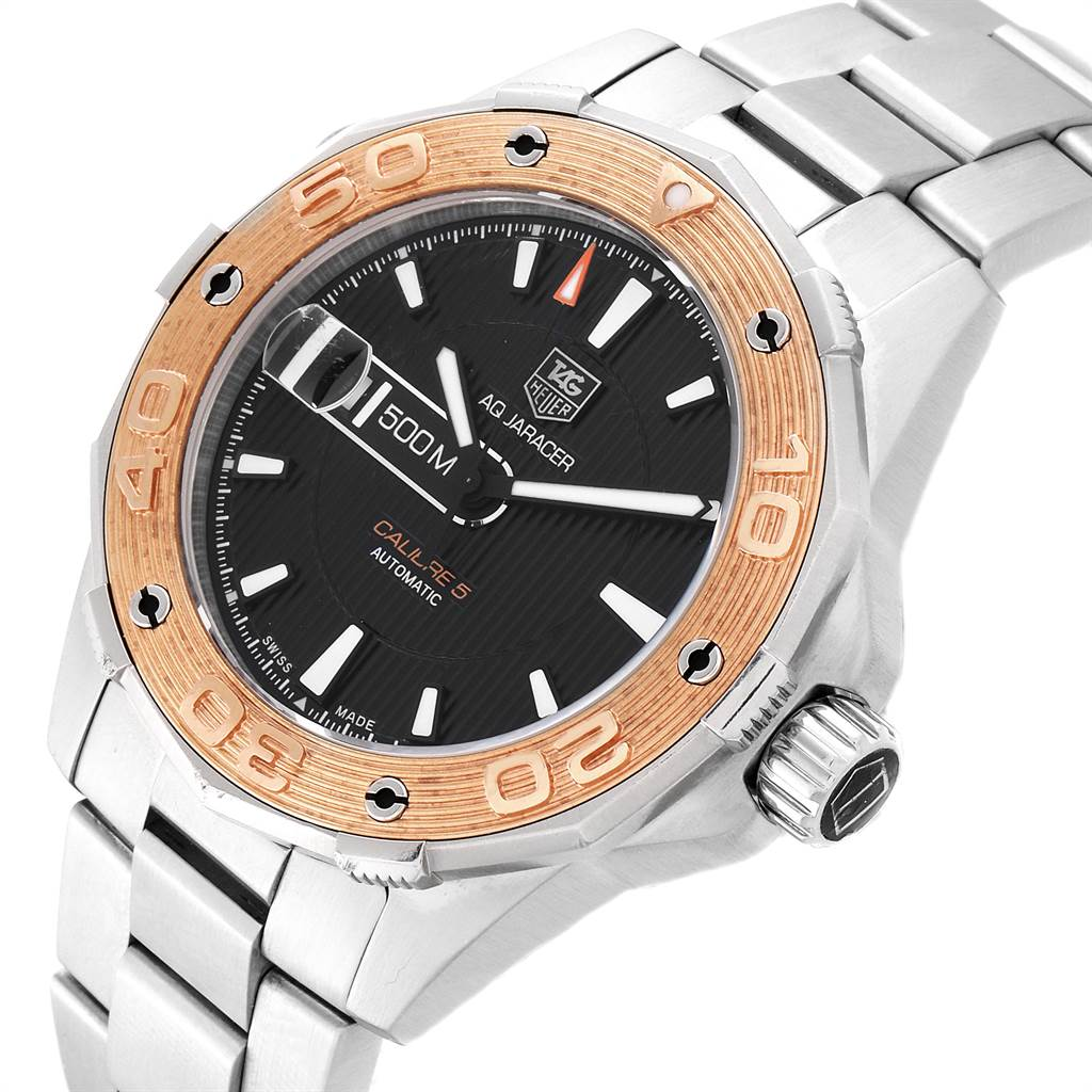 22533 Tag Heuer Aquaracer Steel 18K Rose Gold Mens Watch WAJ2150 SwissWatchExpo