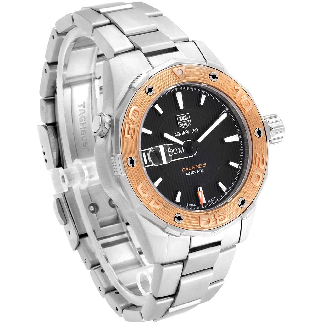 Tag Heuer Aquaracer Steel 18K Rose Gold Mens Watch WAJ2150 SwissWatchExpo