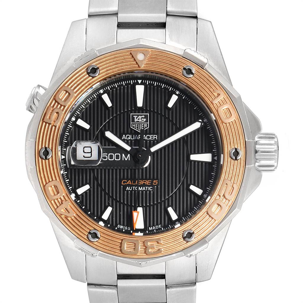Tag Heuer Aquaracer Steel 18K Rose Gold Mens Watch WAJ2150