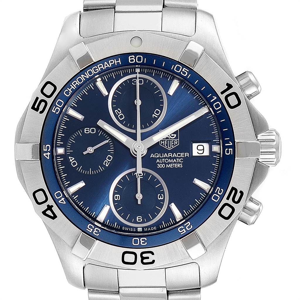 22610 Tag Heuer Aquaracer Blue Dial Chronograph Steel Mens Watch CAF2112 SwissWatchExpo