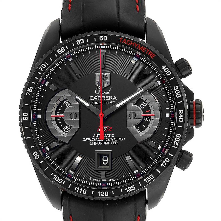 Tag Heuer Grand Carrera Titanium Black PVD Mens Watch CAV518B Box Card SwissWatchExpo