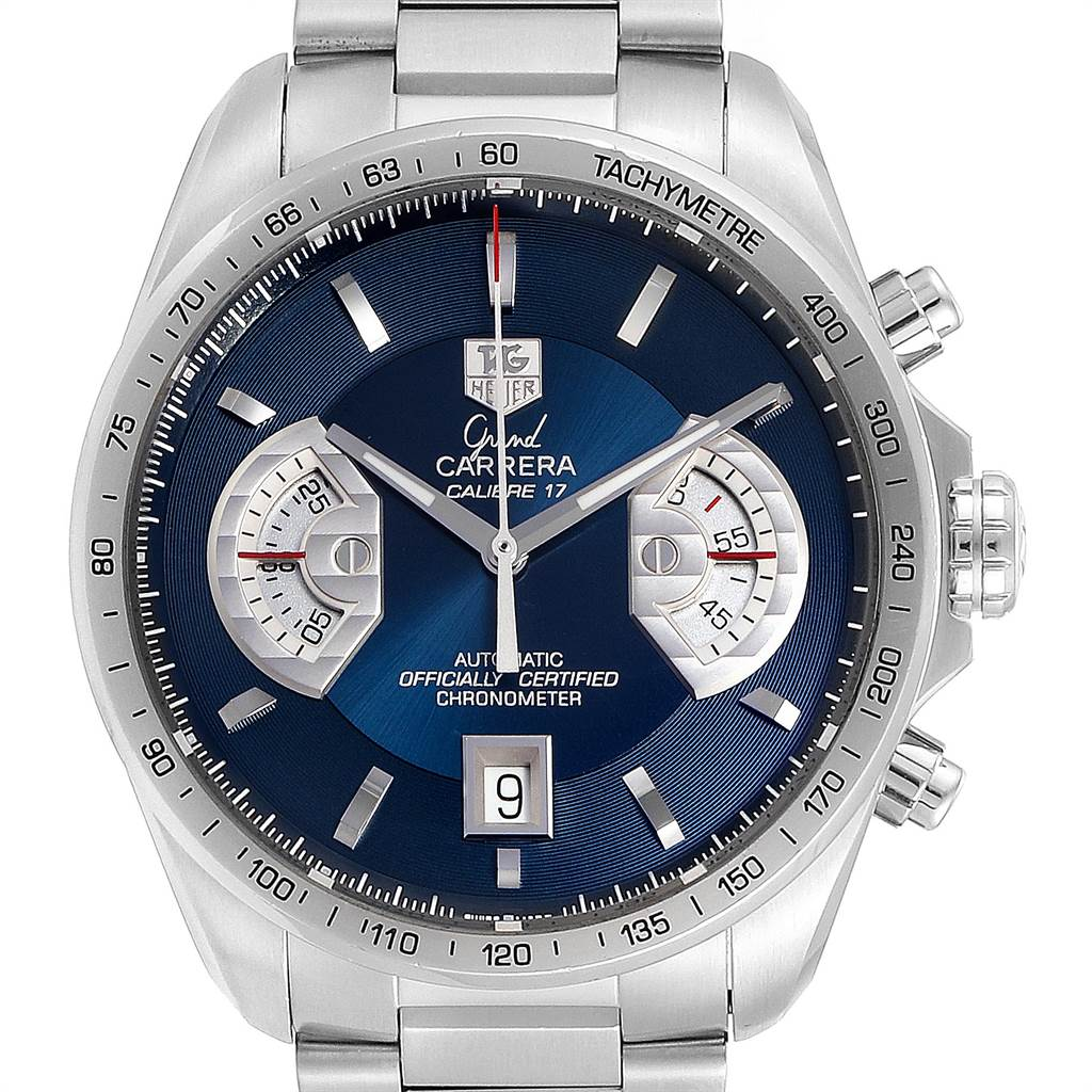 23811 Tag Heuer Grand Carrera Blue Dial Limited Edition Mens Watch CAV511F SwissWatchExpo