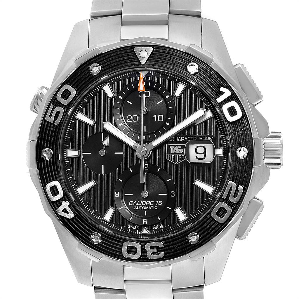 23847 Tag Heuer Aquaracer Black Dial Steel Mens Watch CAJ2110 Card SwissWatchExpo
