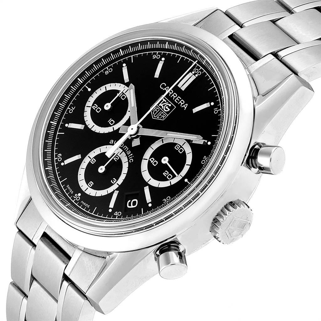23850 Tag Heuer Carrera Black Dial Chronograph Mens Watch CV2113 Card SwissWatchExpo