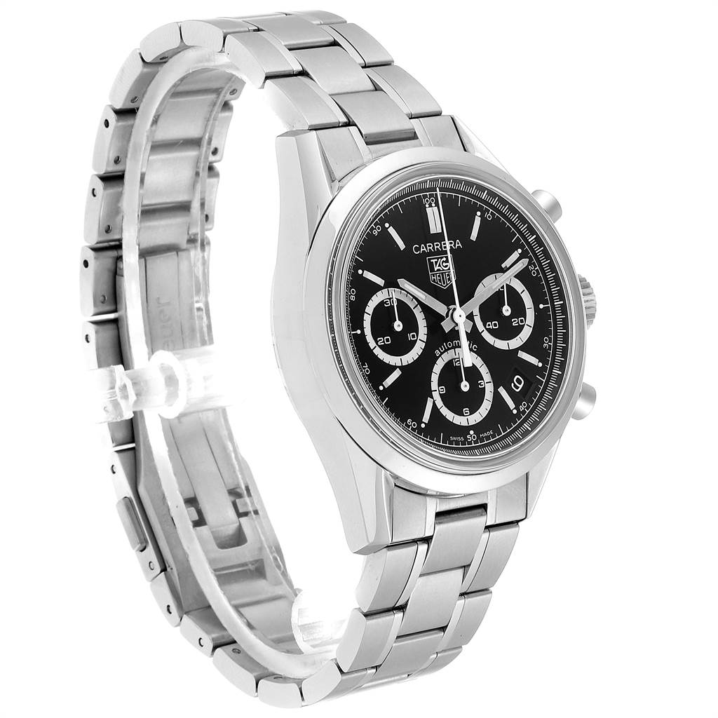 Tag Heuer Carrera Black Dial Chronograph Mens Watch CV2113 Card SwissWatchExpo