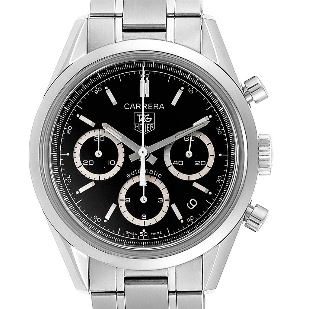 Tag Heuer Carrera Black Dial Chronograph Mens Watch CV2113 Card