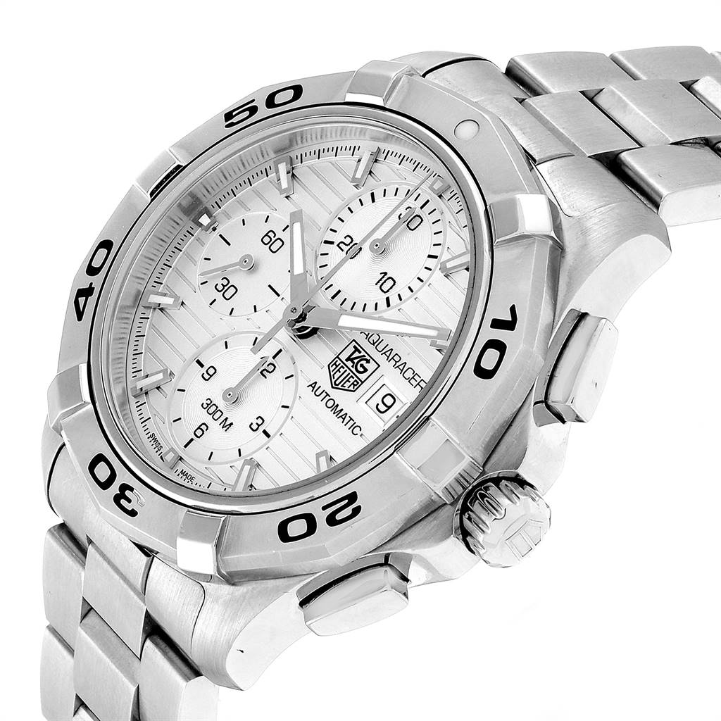 23851 Tag Heuer Aquaracer Silver Dial Chronograph Steel Mens Watch CAP2111 SwissWatchExpo
